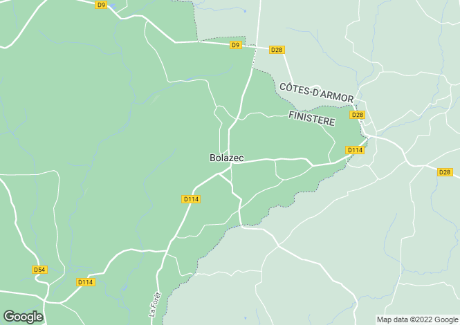Map for bolazec, Finistère, France
