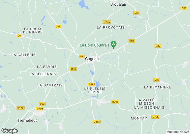 Map for cuguen, Ille-et-Vilaine, France