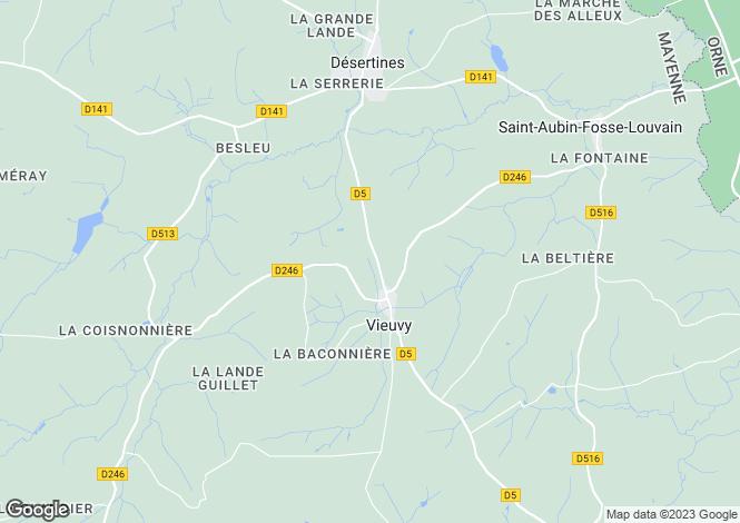 Map for Pays de la Loire, Mayenne, Vieuvy
