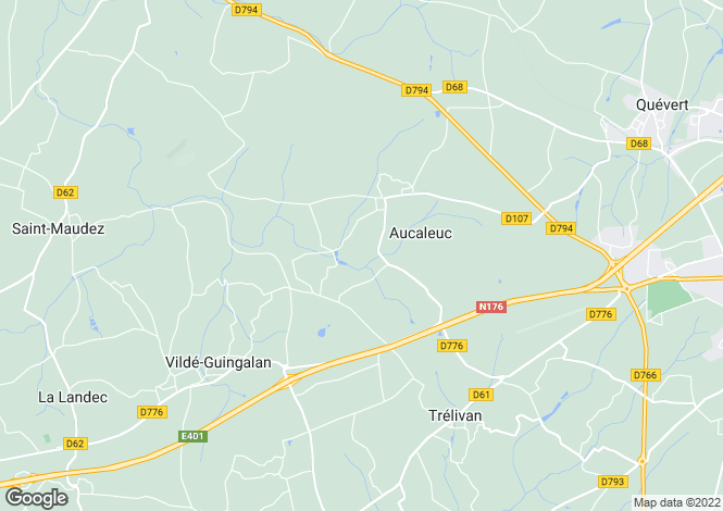 Map for Aucaleuc, Bretagne, 22100, France