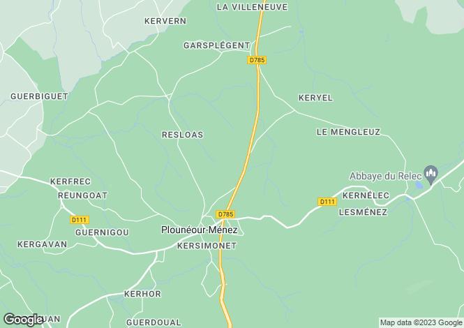 Map for Brittany, Finistère, Plounéour-Ménez