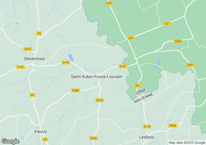 Map for St-Aubin-Fosse-Louvain, Mayenne, Pays de la Loire