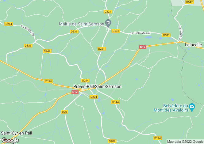 Map for Pays de la Loire, Mayenne, Pré-en-Pail