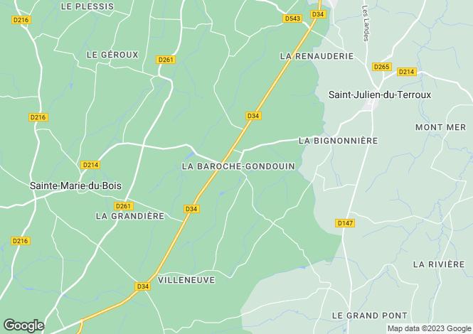 Map for Pays de la Loire, Mayenne, near La Baroche Gondouin