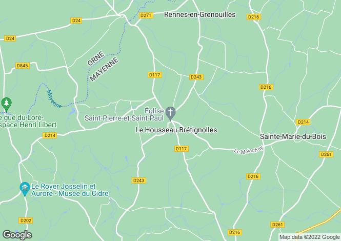 Map for Le Housseau-Bretignolles, Mayenne, 53110, France