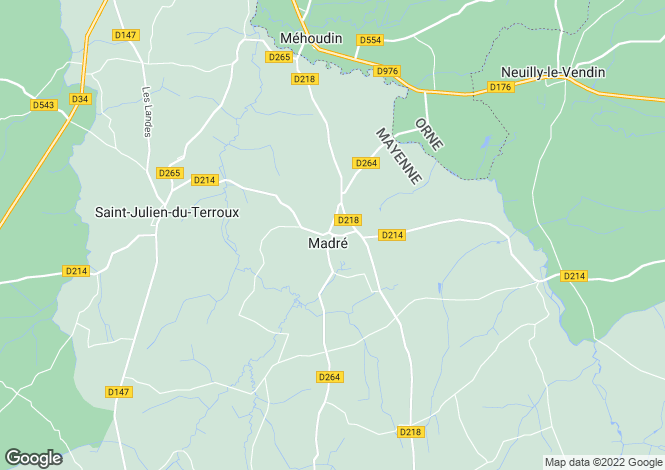 Map for madre, Mayenne, France