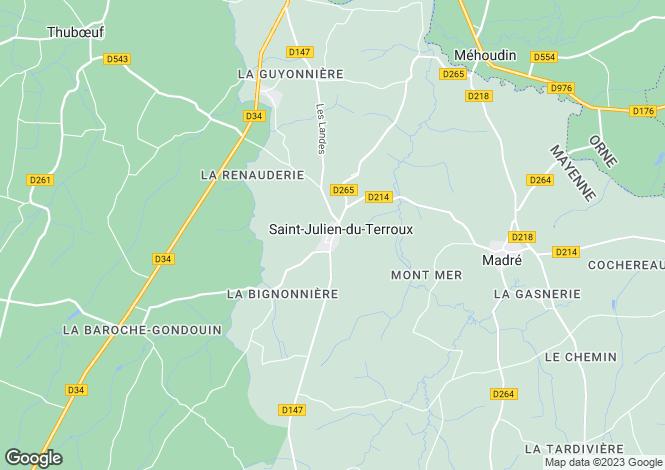 Map for Pays de la Loire, Mayenne, Saint Julien du Terroux