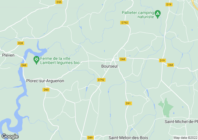 Map for Bourseul, Bretagne, 22130, France
