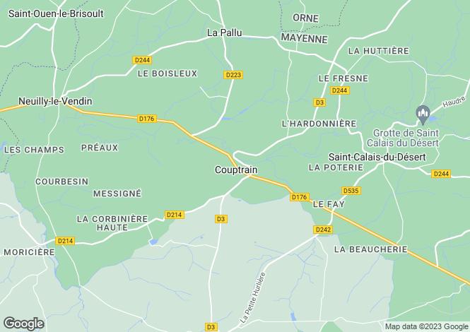 Map for Couptrain, Mayenne, Pays de la Loire