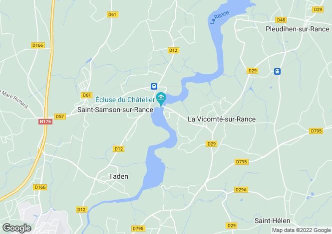 Map for Dinan, Côtes-d`Armor, Brittany