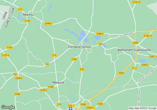 Map for fontaine-simon, Eure-et-Loir, France