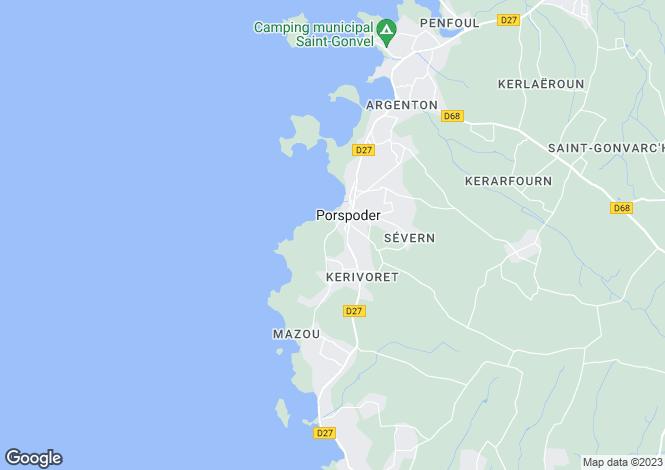 Map for porspoder, Finistère, France