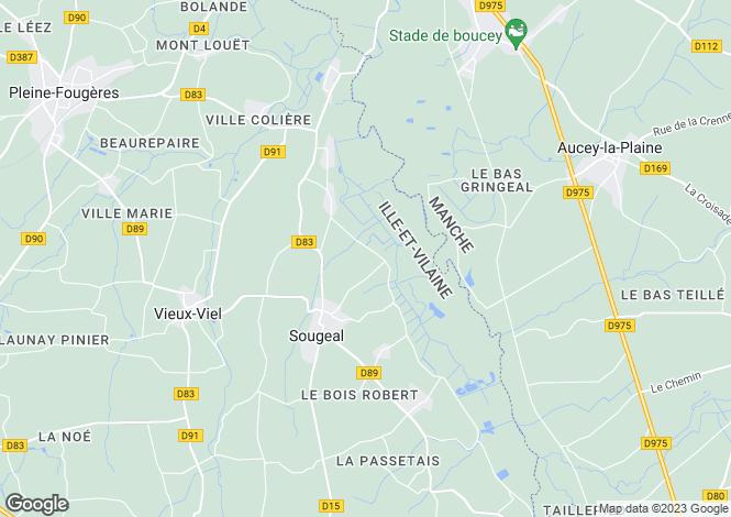 Map for Sougeal, Bretagne, 35610, France
