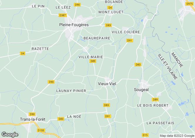 Map for Brittany, Ille-et-Vilaine, Vieux-Viel