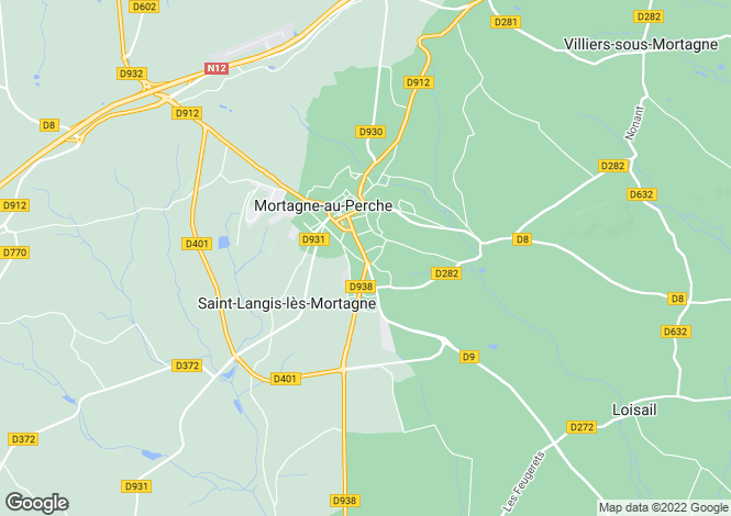 Map for Mortagne-au-Perche, Orne, Normandy
