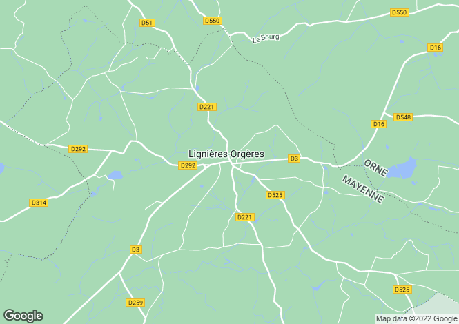Map for Lignieres-Orgeres, Mayenne