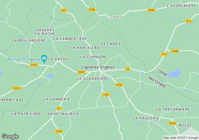 Map for Pays de la Loire, Mayenne, Lignières-Orgères