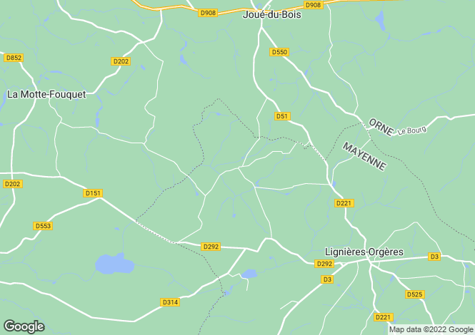 Map for Pays de la Loire, Mayenne, Orgères-la-Roche