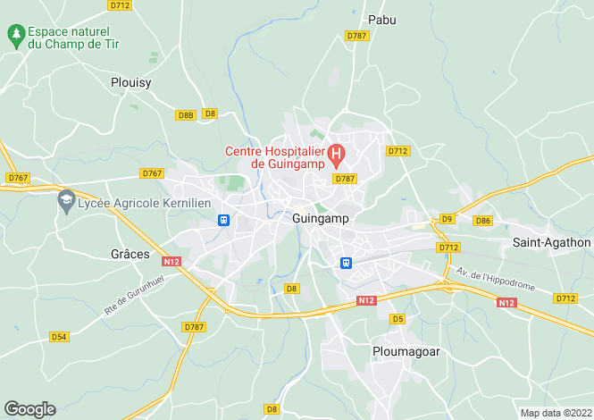 Map for guingamp, Côtes-d'Armor, France