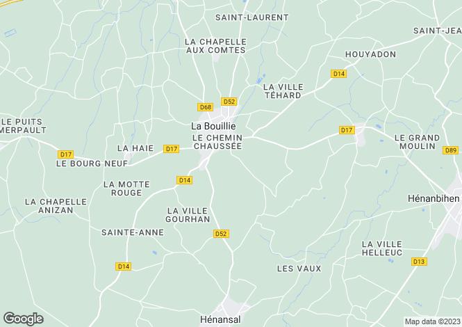 Map for Brittany, Côtes-d'Armor, La Bouillie