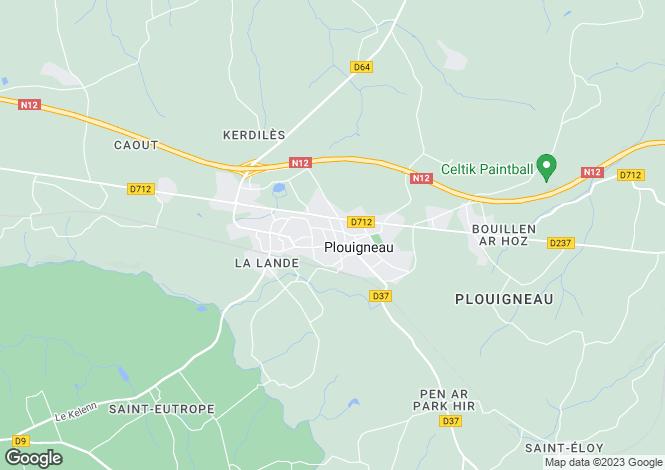 Map for plouigneau, Finistère, France