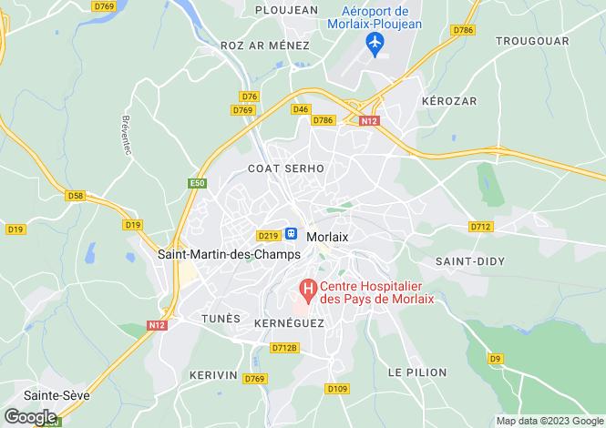 Map for morlaix, Finistère, France
