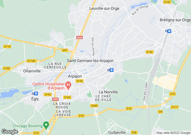 Map for arpajon, Essonne, France