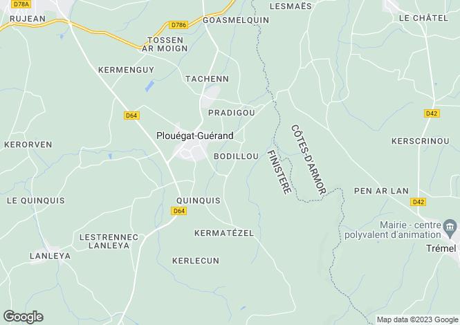 Map for plouegat-guerand, Finistère, France