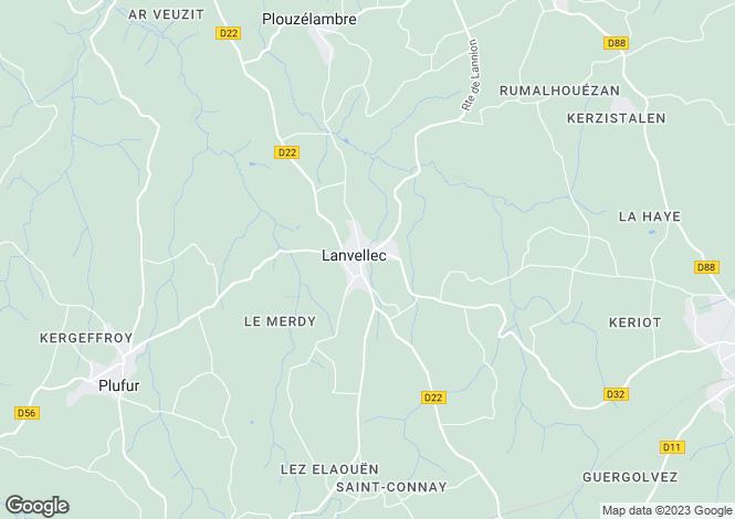 Map for Brittany, Côtes-d'Armor, Lanvellec