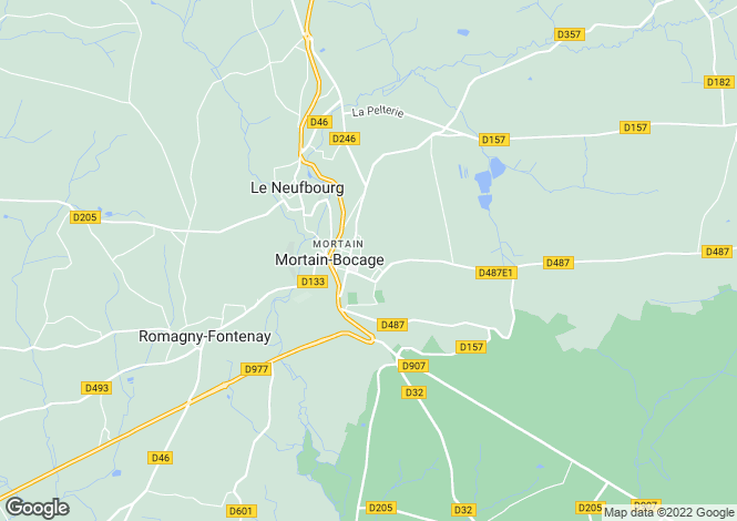 Map for Mortain, Manche, Normandy