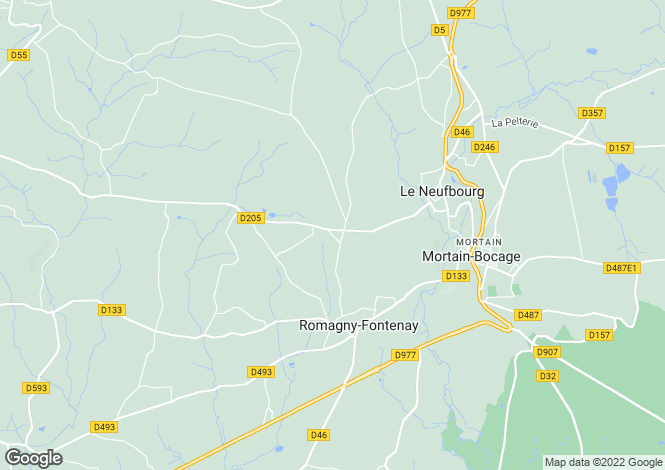 Map for Normandy, Manche, near Romagny