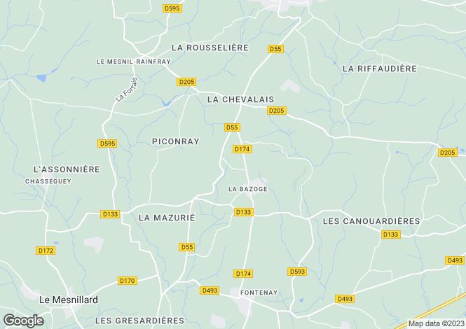 Map for La Bazoge, Manche, 50520, France