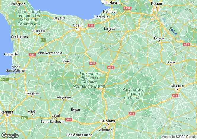 Map for Normandy, Orne