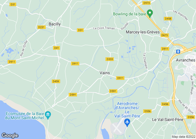 Map for Normandy, Manche, Vains