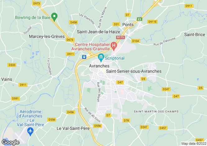 Map for Avranches, Manche, Normandy