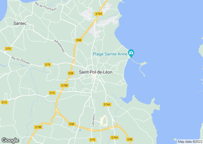 Map for st-pol-de-leon, Finistère, France