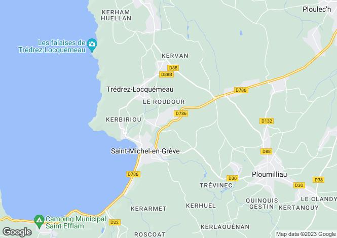 Map for St-Michel-en-Grève, Côtes-d`Armor, Brittany