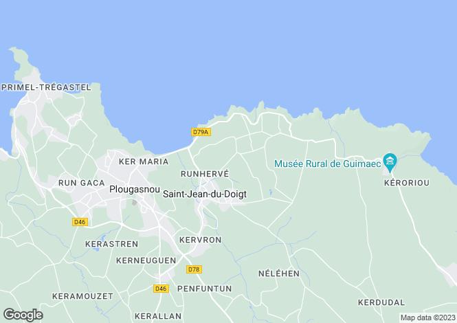 Map for Brittany, Finistère, St-Jean-du-Doigt