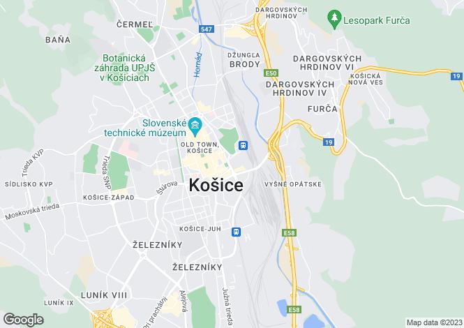 Map for Kosice Region, Kosice