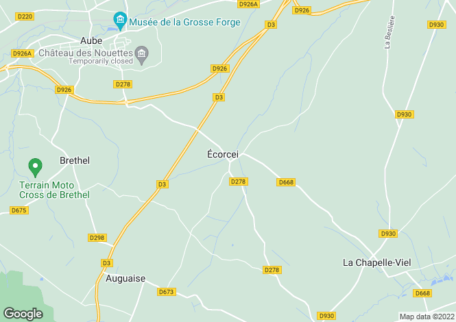 Map for ecorcei, Orne, France