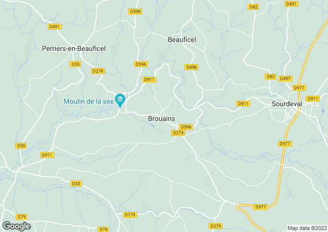 Map for Normandy, Manche, Brouains