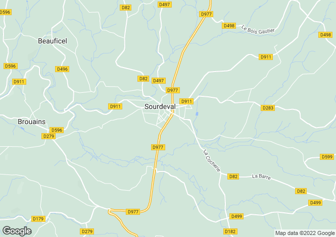 Map for Normandy, Manche, near Sourdeval