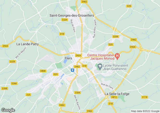 Map for Flers, Orne, Normandy