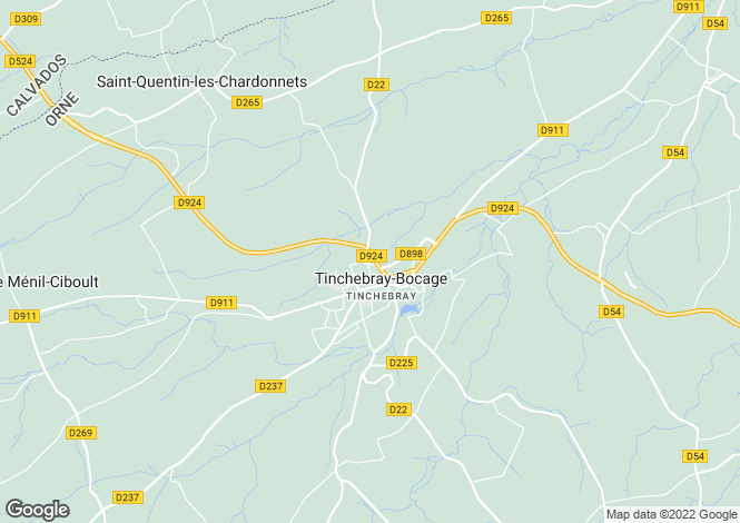 Map for Tinchebray, Orne, Normandy
