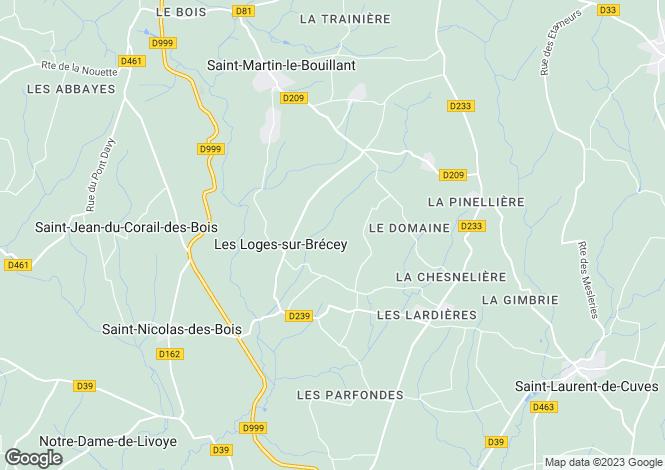 Map for Normandy, Manche, Les Loges-sur-Brécey