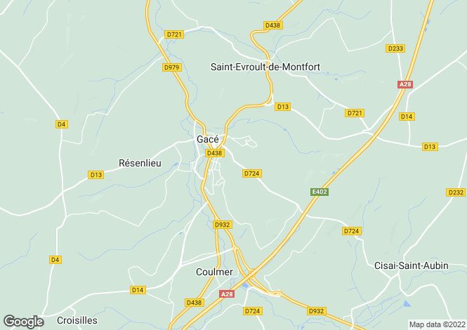 Map for Normandy, Orne, Gacé