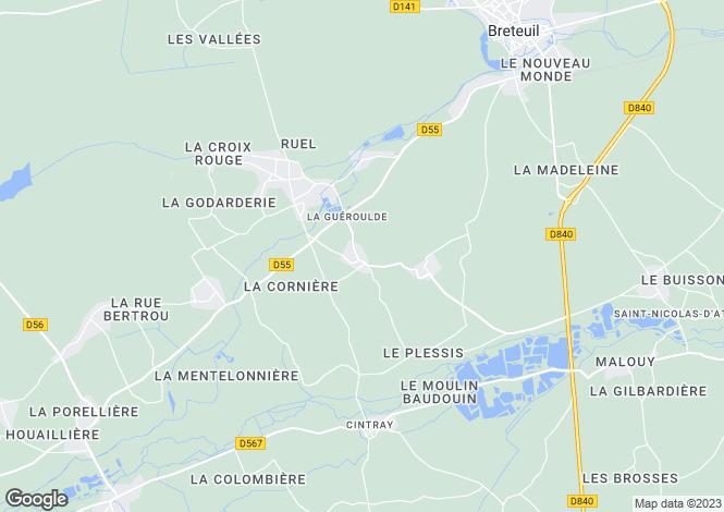 Map for la-gueroulde, Eure, France