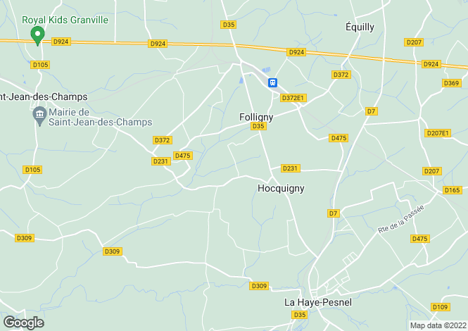 Map for Normandy, Manche, Folligny