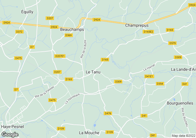 Map for Normandy, Manche, Le Tanu