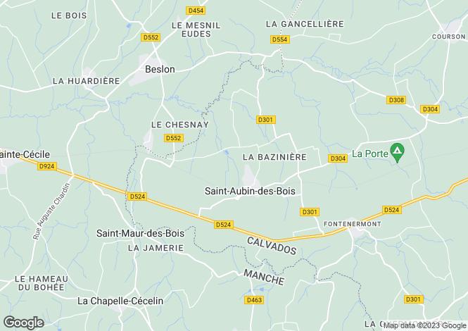 Map for Normandy, Manche, Saint Aubin des Bois